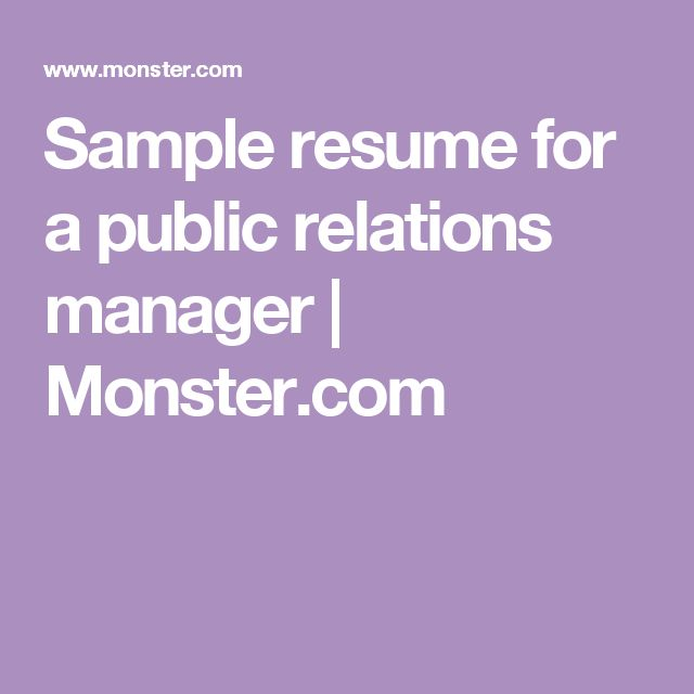 Sample resume for a public relations manager   Monster.com