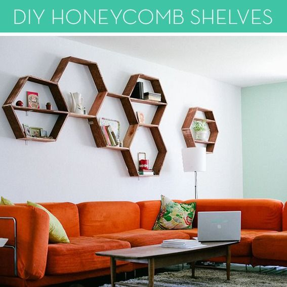 Make It: Easy DIY Honeycomb Shelves Could be fun for Dad to do them in the shape of caffeine or something.
