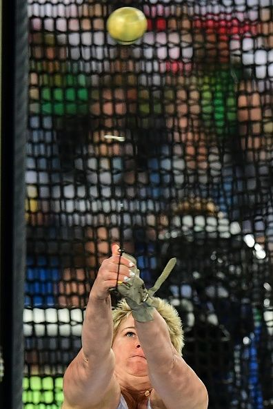 Poland's Anita Wlodarczyk competes in the Women's Hammer Throw Qualifying Round during the athletics event at the Rio 2016 Olympic Games at the...