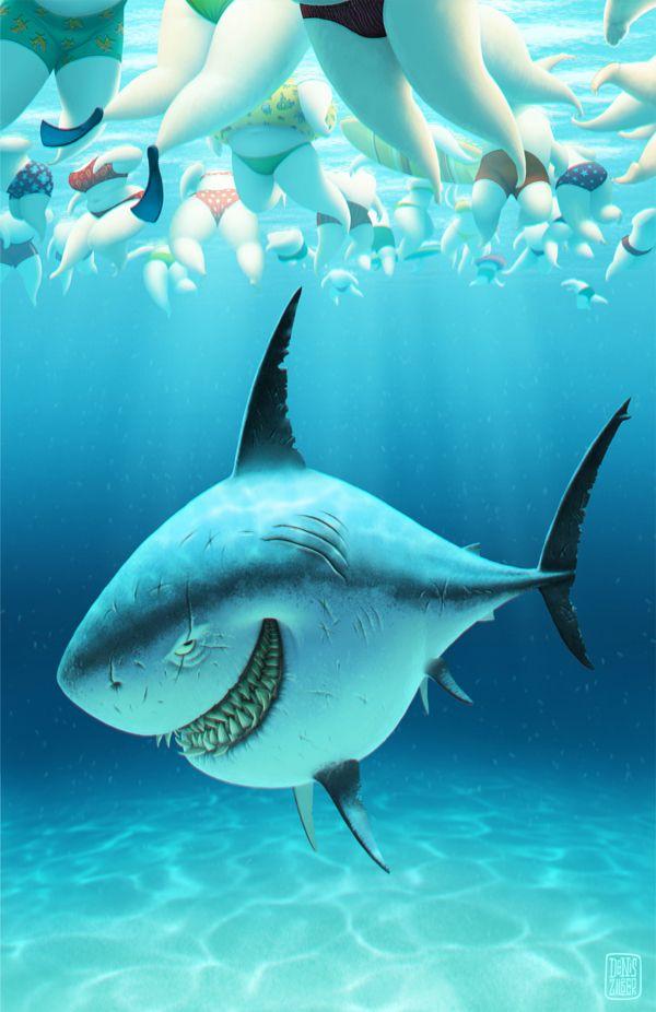 Акулы смешные рисунки
