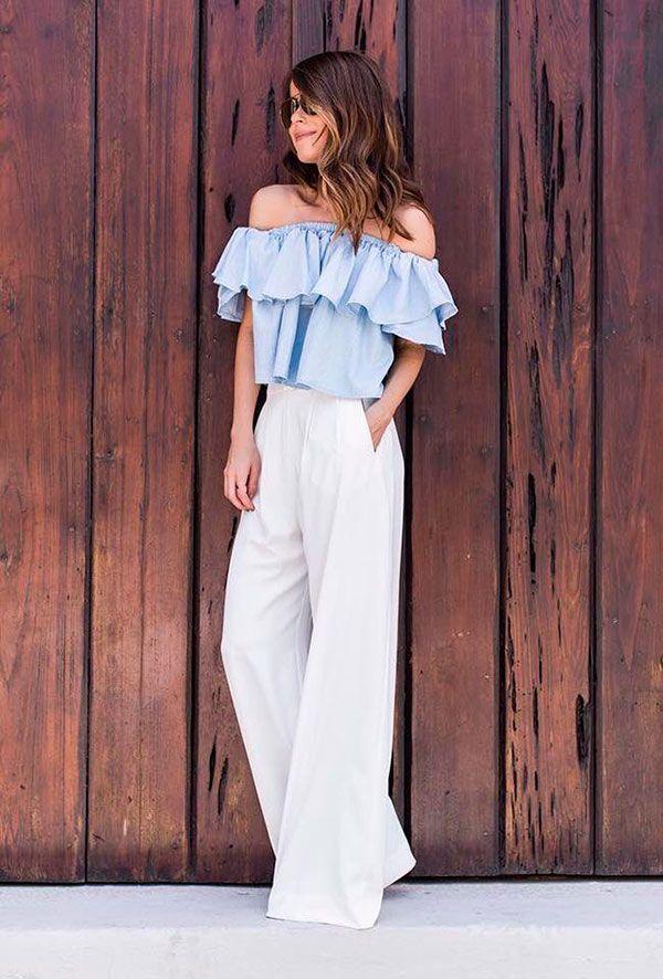 blusa decote ombro a ombro e calca pantalona