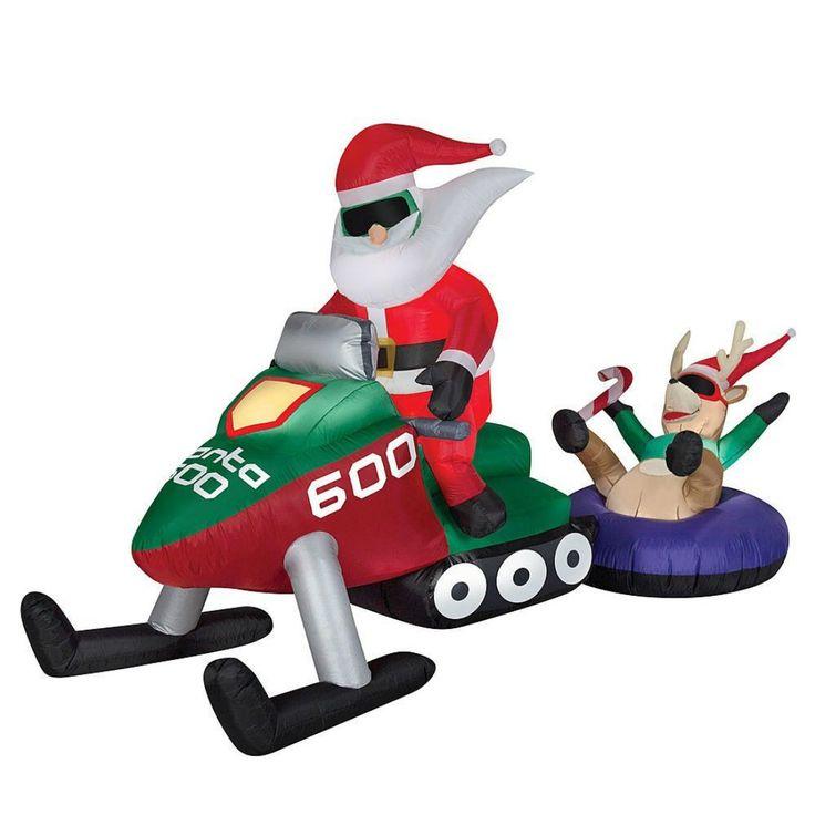 Christmas Outdoor Inflatable Airblown Santa Snowmobile Scene