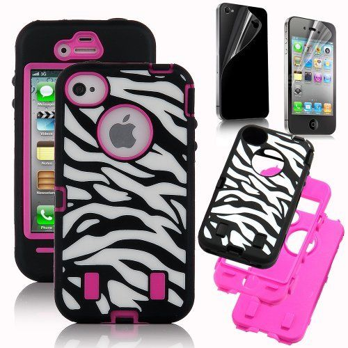 Hot Selling Rose Pink White Zebra Combo Hard Soft High Impact iPhone 4 4S Armor Case Skin Gel with free screen protector by Pandamimi, http://www.amazon.com/dp/B009IFU5P8/ref=cm_sw_r_pi_dp_GuAHrb01BXD6N
