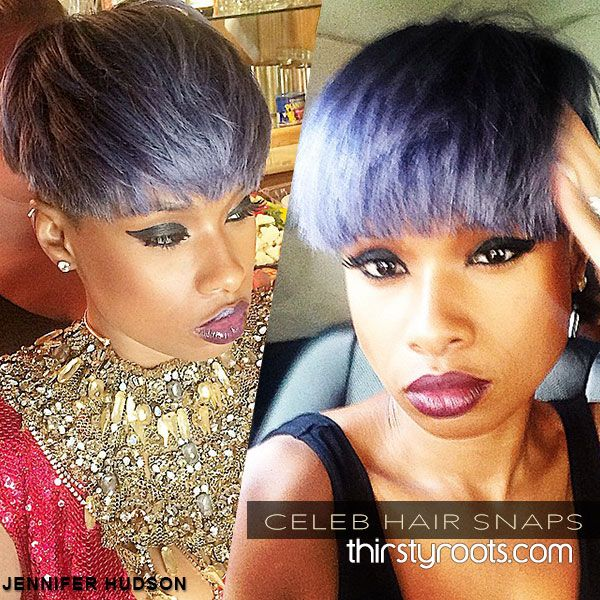 Jhud in Shades of lavender grey and lilac: http://thirstyroots.com/jennifer-hudsons-pixie-haircut-in-layers-of-lavender-grey-and-lilac.html