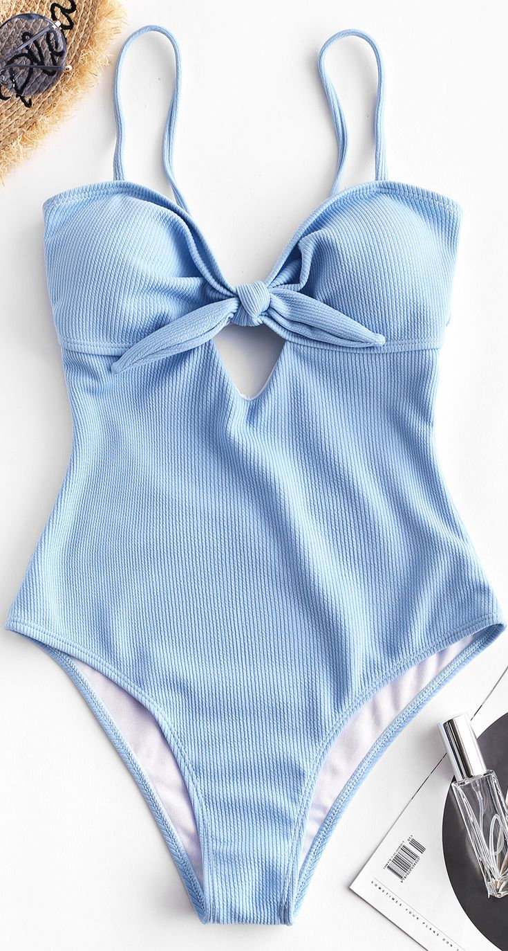 Ribbed Tied One-piece Swimsuit – Day Sky Blue