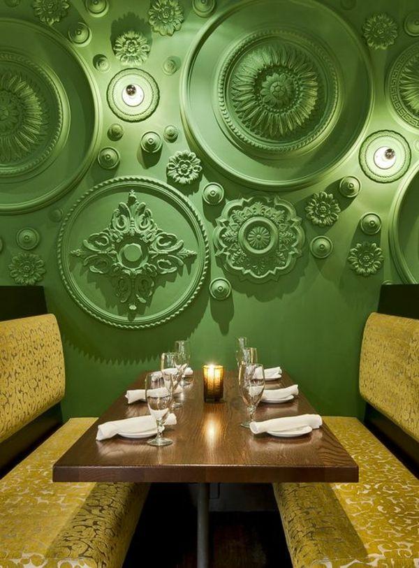 tolle wandgestaltung wohnideen wandfarben grün klassisch