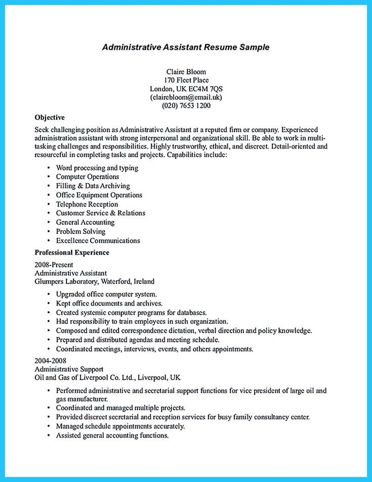 cool Sample to Make Administrative Assistant Resume,