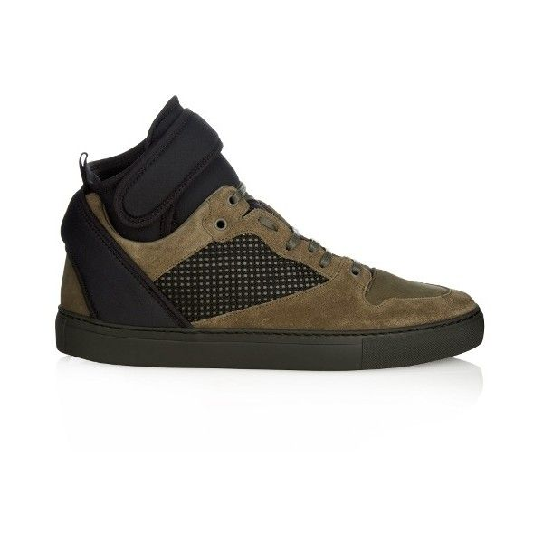 Balenciaga Multi-panel high-top suede trainers ($795) ❤ liked on Polyvore featuring men's fashion, men's shoes, men's sneakers, mens pointed shoes, mens velcro high top sneakers, balenciaga mens sneakers, mens suede sneakers and mens high top velcro shoes