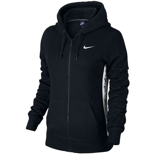 Women's Nike Club Graphic 1T Full-Zip Fleece Hoodie, Size: M, Black... ($48) ❤ liked on Polyvore featuring tops, hoodies, black and white, fleece hoodies, nike hoodie, zip front hoodie, fleece hoodie and zip front hooded sweatshirt