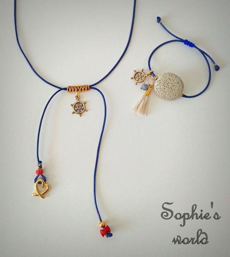ένα πολύ όμορφο & διακριτικό καλοκαιρινό σετάκι! ⛵ κολιέ με δερμάτινη μπλε κορδόνι με τιμονάκι ναυτικό & σετ βραχιόλι με ημιπολίτιμο λίθο Λάβας κ τιμονάκι #navy #summer #accessories #handmadegreece https://www.facebook.com/SophiesworldHandmade/