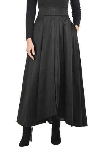 Wide pleats create ballgown-volume for our faux-wrap, ankle-length polydupione skirt.