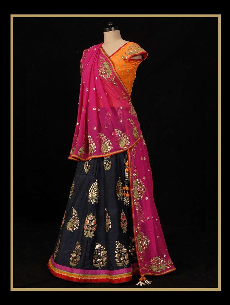 Buy Lehenga: vy Blue Blouse: Orange Dupatta: Rani Pink Starry Eyed Dream Lehenga by Anupama Bose Raw Silk Georgette Apparel Pants & Skirts Gilded Goddess Wedding Sets in Leheriya Gota Accents Online at Jaypore.com