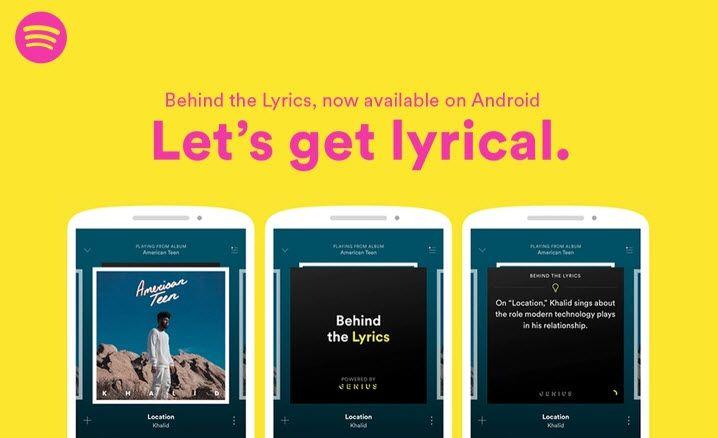 """#Música #Spotify Spotify para Android agrega """"Behind the Lyrics"""", para conocer detalles de las canciones que escuchamos"""