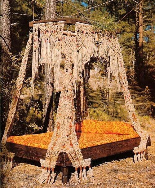 outdoor bed, bohemian, boho, crochet, canopy bed: Ideas, Beds, Dream, Macrame Bed, Bedroom, Bohemian
