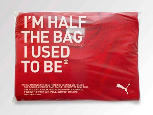 Puma's new biodegradable bag, replacing their plastic bags. Half the bag it used to be