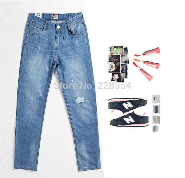 Типа парня омывается рваные джинсы кадрированные широкий лето стиль женщина feminino