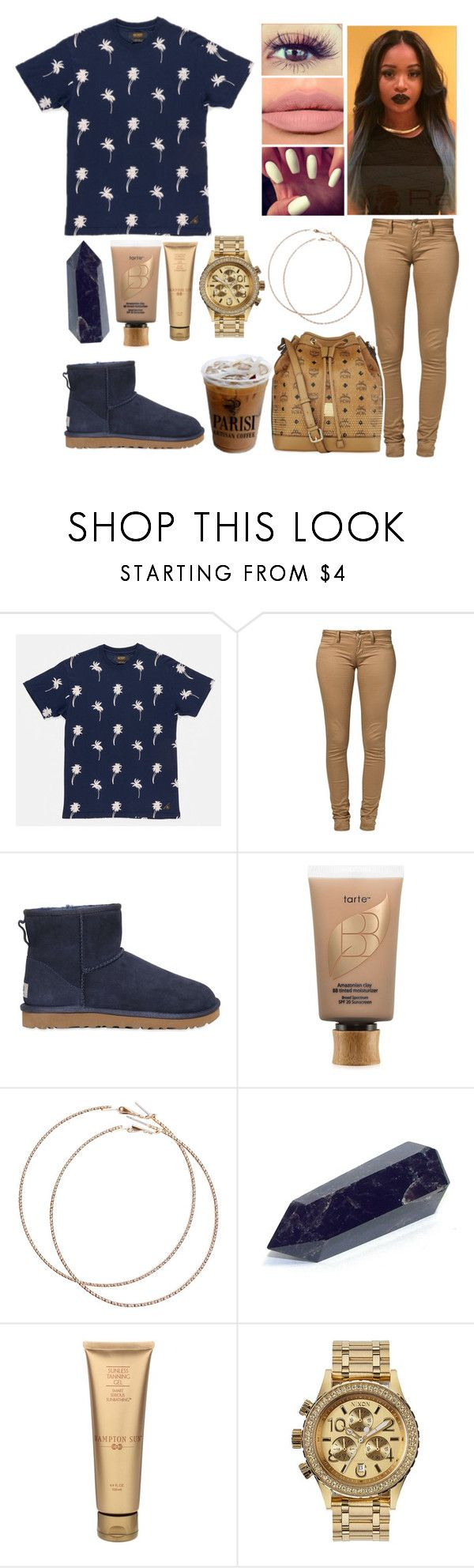 """Untitled #881"" by lovelyxox ❤ liked on Polyvore featuring Monkee Genes, UGG Australia, tarte, Wet Seal, ColourPop, Hampton Sun, Nixon and MCM"