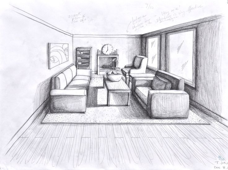 1 point perspective room 05 · pencil sketchingdrawing