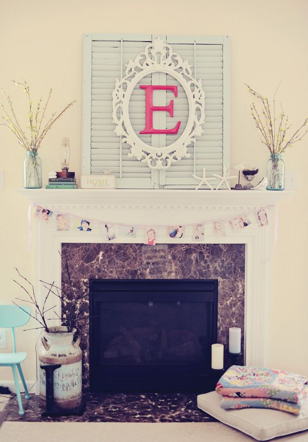 Shutter: frame: monogram. Must make. Maybe lose the shutters or paint themMantles Decor, Wall Art, Old Shutters, Frames Letters, Fireplaces, Cute Ideas, Girls Birthday Parties, Living Room, A Frames