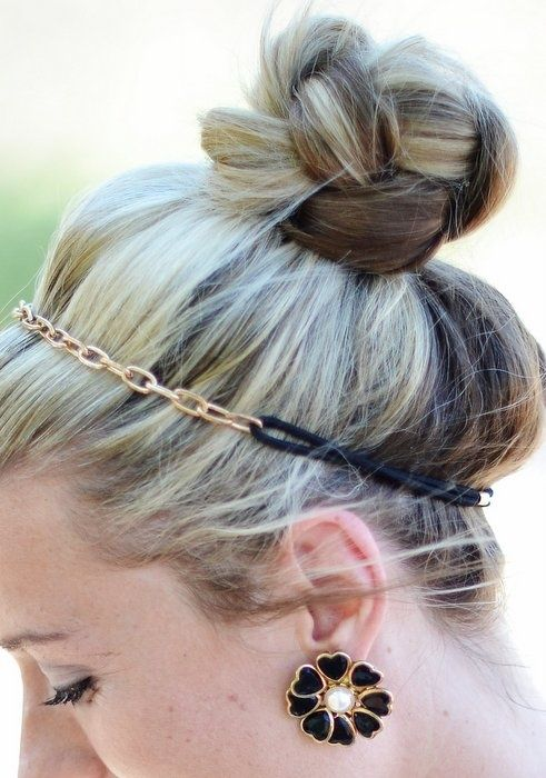put hair in high pony,braid & wrap braid around & secure. Add headband.....ahhh so attempting to do this.