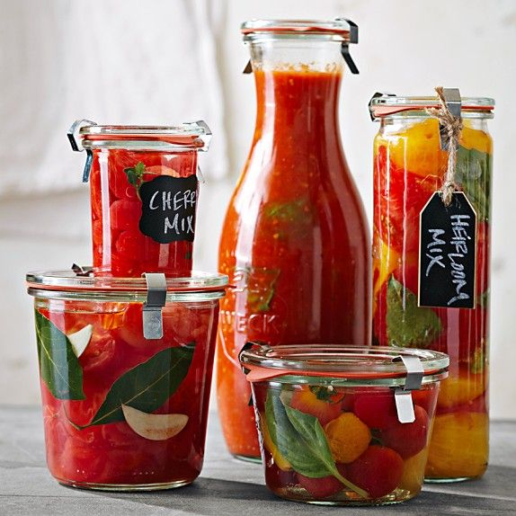Weck Cylindrical Jars, 20oz, Set of 6 -- they're so pretty!!! From Williams Sonoma.