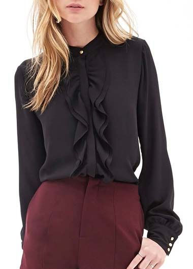 Long Sleeve Black Chiffon Blouse