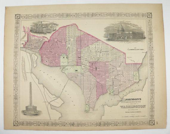 Original 1867 Washington Dc Map Georgetown 1867 Johnson Map Us Capital City Street Map