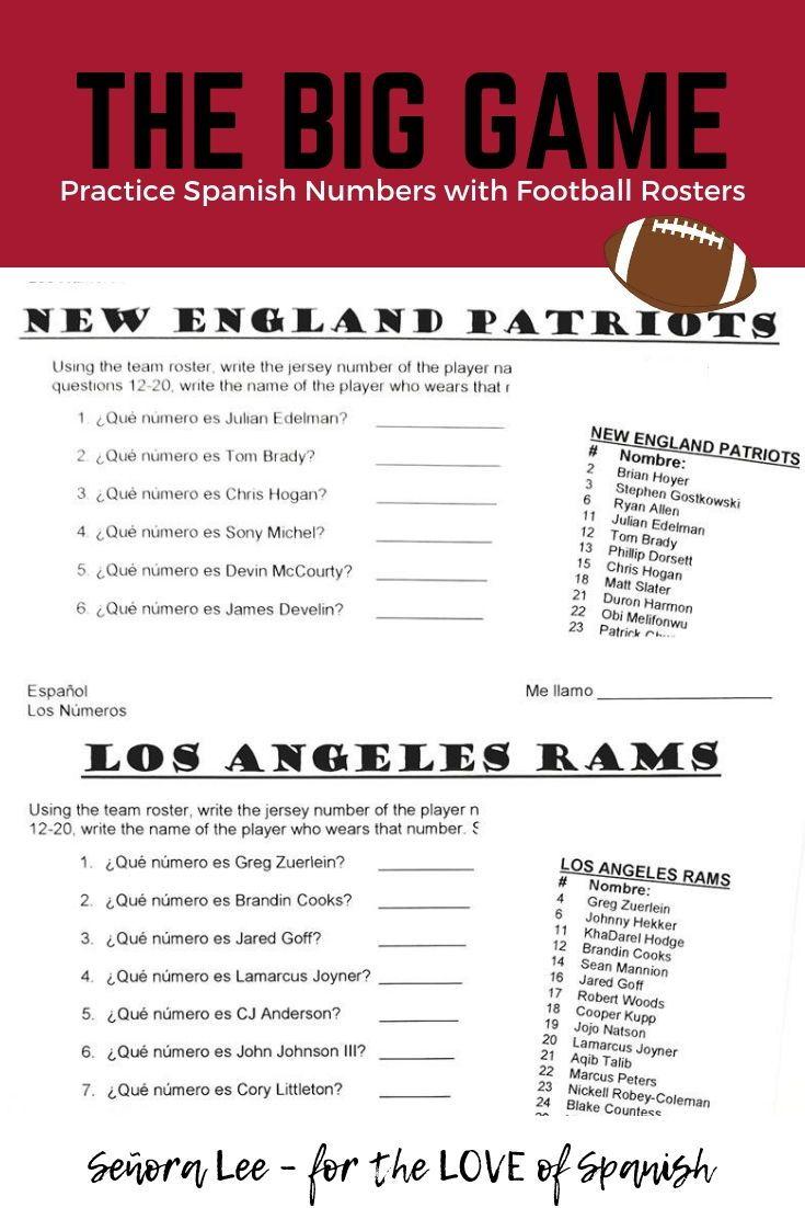 Spanish Numbers 1 100 Activity Spanish Super Bowl Worksheet Spanish Teacher Resources Middle School Spanish Lessons Middle School Spanish