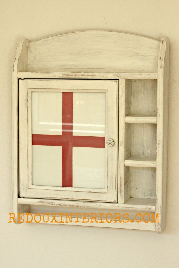 Medicine Cabinet Makeover.  Reverse paint on Glass! Red Cross with CeCe Caldwells Vintage White, Traverse City Cherry.   REDOUXINTERIORS FACEBOOK: REDOUX