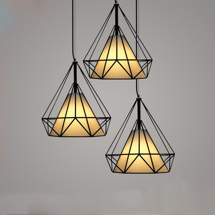 Hot modern black birdcage pendant lights iron minimalist retro light Scandinavian loft pyramid lamp metal cage with led bulb #Affiliate