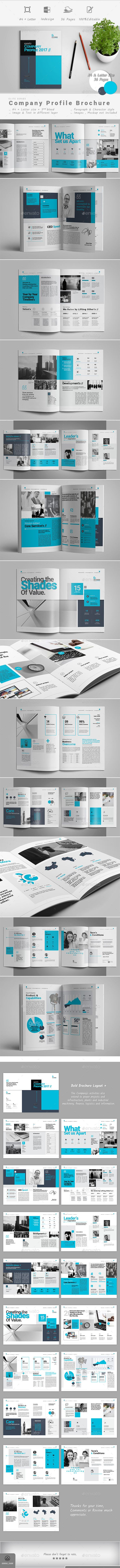 Company Profile Brochure Template InDesign INDD - 36 Pages, A4 & US Letter Size