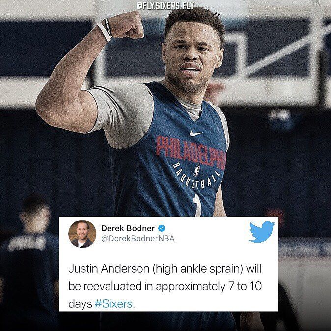 After missing the rest of the game on Monday against the #Knicks its been officially announced that #Sixers SF #JustinAnderson has suffered a High Ankle Sprain and will be re-evaluated in 7-10 days allowing players like #TimotheLuwawuCabarrot and #MarcoBelinelli to see more time on the court.  Hopefully these 7-10 days dont turn into 7-10 weeks or even months . Safe recoveries @jusanderson1!  - #Philadelphia #Philly #76ers #Sixers #Philadelphia76ers #JoelEmbiid #BenSimmons #DarioSaric…
