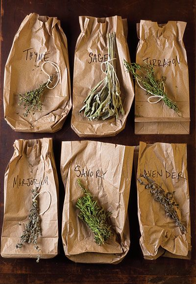 Herb Drying In Paper Bags