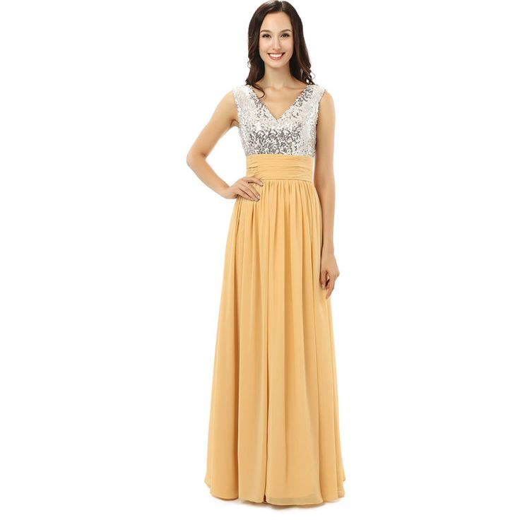 HS BRIDAL Silver Sequins V Neck Yellow Chiffon Women Dresses Long Cheap Bridesmaid DressesWedding Party