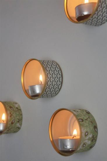 Cat food cans: Ideas, Tins Wall, Wall Lamps, Cat Food, Candles Holders, Teas Lights, Recycled Tins, Diy Home, Crafts