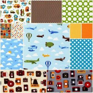 Fat Quarter Bundle Cottons: Out N' About / Bermuda, 8 Fabrics - cotton fabric