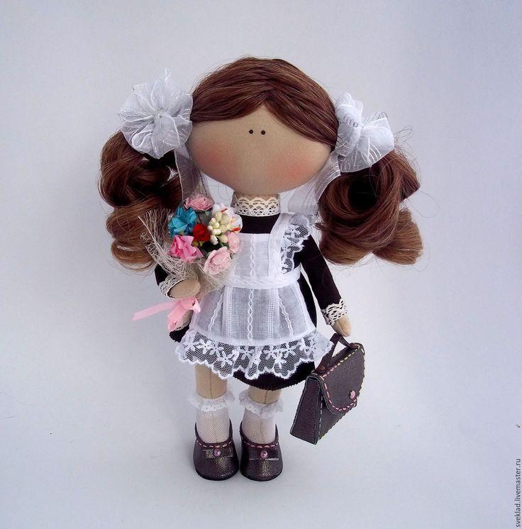 Купить Кукла школьница - чёрно-белый, школьница, кукла школьница, школа, первоклашка, первое сентября
