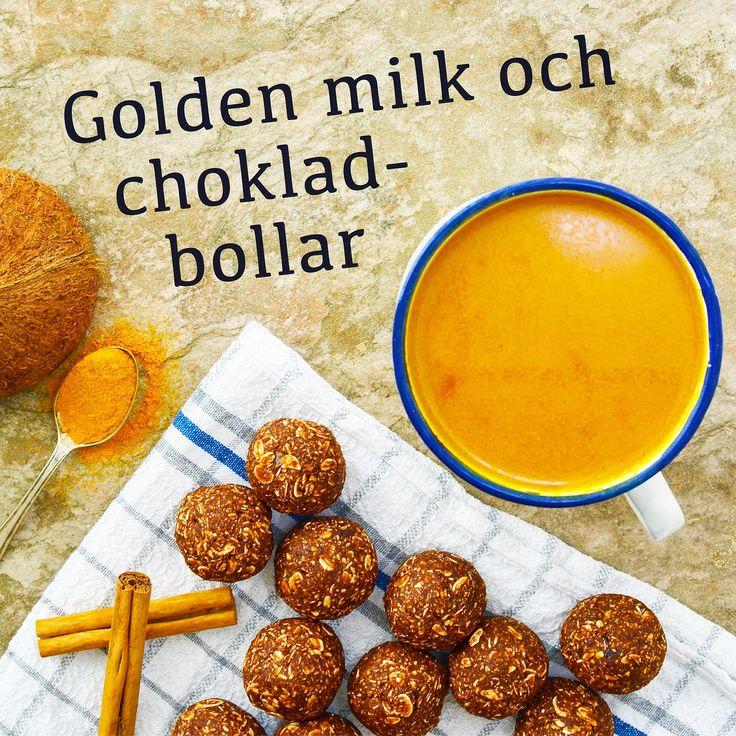 Golden milk och chokladbollar! Vår värmande golden milk är gjord på bl.a. havremylk, gurkmeja och ingefära. Receptet finns i meny 22. 😊💛  www.allaater.se