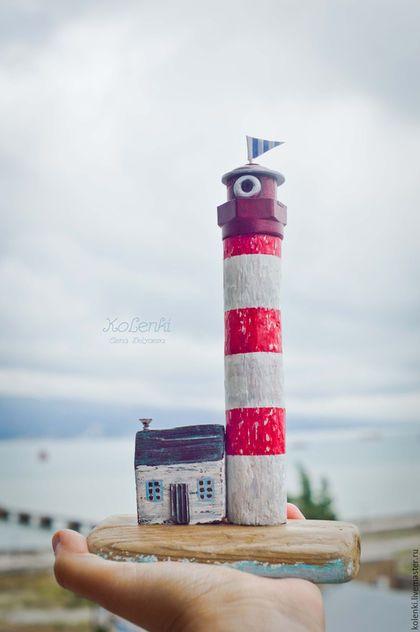 Wooden figurine lighthouse / Статуэтки ручной работы. Маяк driftwood. Беляева Елена. Интернет-магазин Ярмарка Мастеров. Маяк, морская романтика, в детскую, kolenki