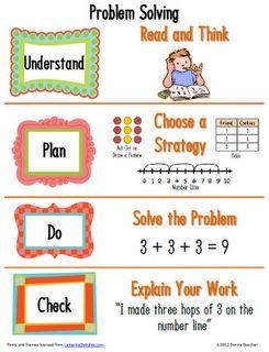 Math Coach's Corner: Primary Problem Solving Poster: Grade Math, Math Problems, Classroom Freebies, Math Coach, Anchor Charts, Solving Poster, Problem Solving, School Math