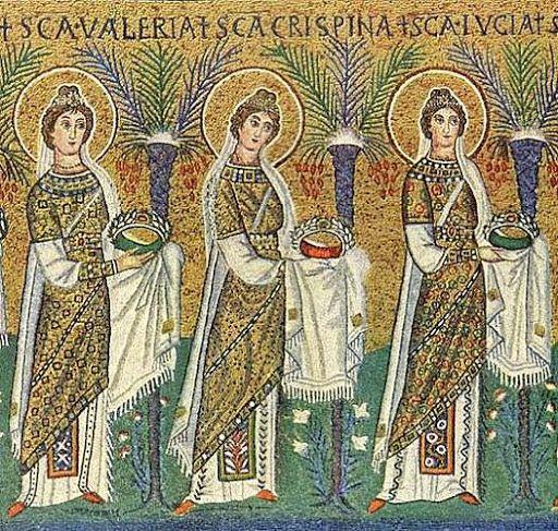ESTILO  BIZANTINO: Detalle de los mosaicos de San Apolonita Nuevo de la Revena : se puede observar una túnica (de seda) con motivos decorativos circulares, típicos del imperio bizantino
