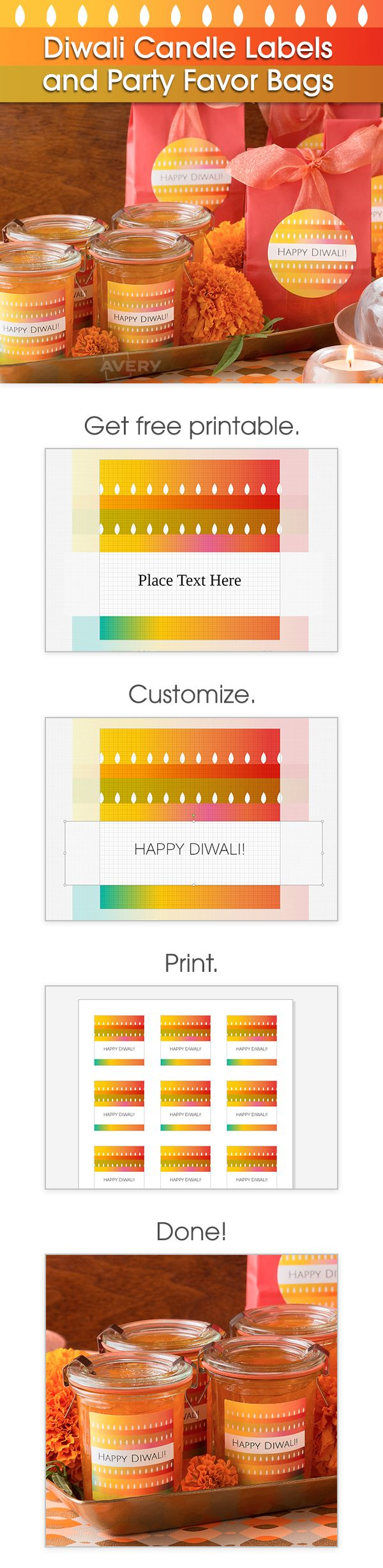 Create your own diy diwali party favors and candle labels for Create your own candle labels