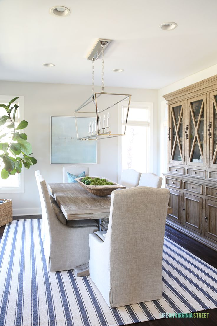 Dash Albert Awning Stripe Rug In A Coastal Inspired Dining Room