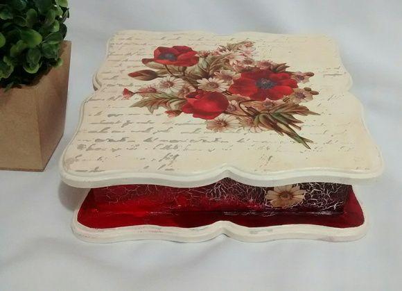 Caixa Porta Jóias Anéis Vermelho Rosas