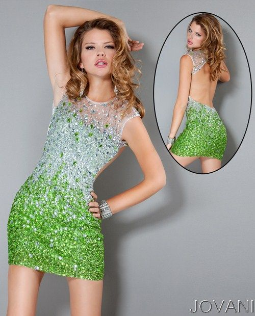 Ombre Jewel Open Back Short Dress, Style 171261 #NYE