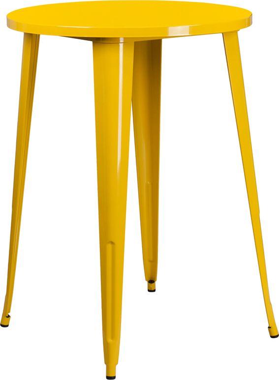 30 Round Yellow Metal Indoor Outdoor, Flash Furniture Dealers