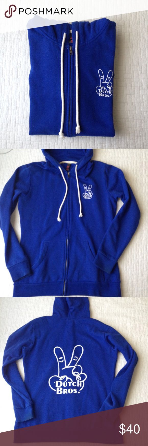 Dutch Bros Zip up Hoodie♡ Dutch bros zip up hoodie. Worn a couple of times but looks practically new! In super great condition. Ready to be worn by a lovely barista or die hard Dutch Bros fan♡ in size large but fits medium as well. Dutch bros  Tops Sweatshirts & Hoodies
