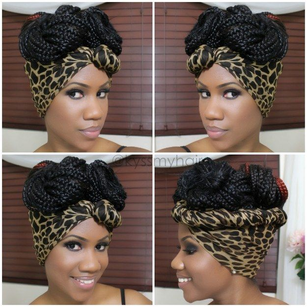 Scarf Updo | 21 Awesome Ways To Style Your Box Braids And Locs