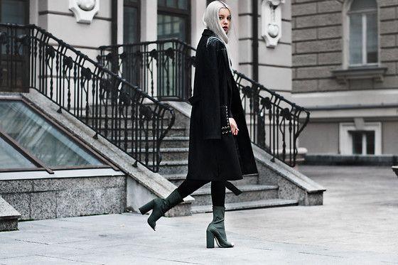 Get this look: http://lb.nu/look/8504129  More looks by Kristina Dolinskaya: http://lb.nu/kristina_doli  Items in this look:  Na Kd Trendy Coat Na Kd, Ego.Co.Uk Khaki Lycra Peep Toe Heel   #chic #elegant #street