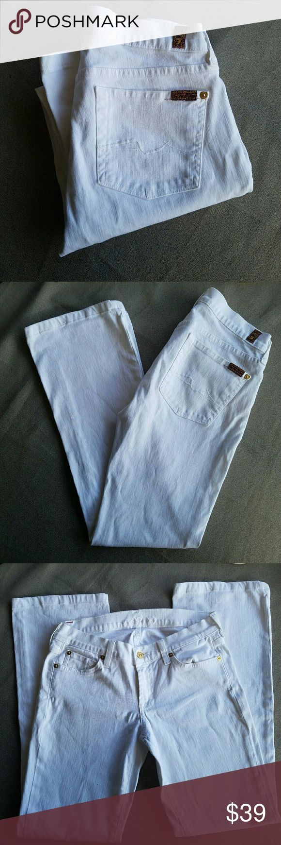 7 for All Mankind White Bootcut Jeans Outer-seam 37.5 in Inseam 30 in Waist 14.8 in Excellent condition  Feel free to ask me any additional questions. Reasonable offers are considered. No trades, or modeling. Happy Poshing! 7 For All Mankind Jeans Boot Cut